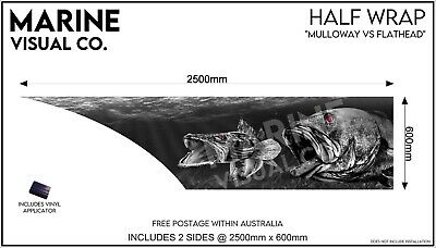 AU395 • Buy Mulloway V Flathead  Half Boat Wrap To Suit Tinny Quintrex Fishing Sticker Decal