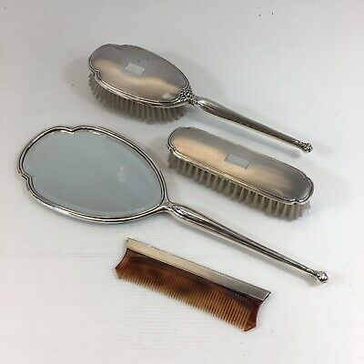 Vintage Sterling Silver Mounted Dressing Table Set Mirror Combe Brushes  • 139£