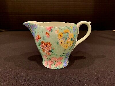 SHELLEY CHINTZ  MELODY  CREAMER 2 3/4  Tall - Green Trim And Interior - Mint • 15.71£