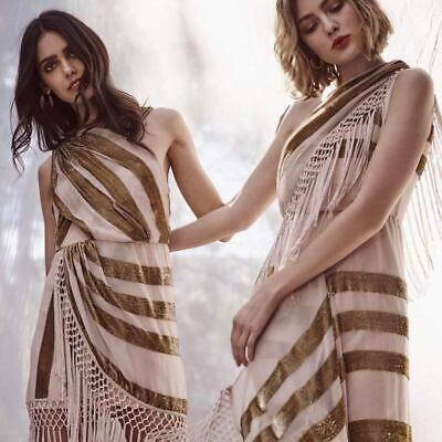 AU135 • Buy ALICE MCCALL  Surrealist  Gold Nude Tassel Silk Dress 10