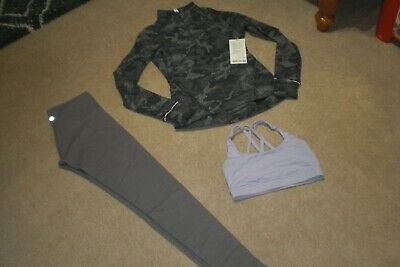 $ CDN90.25 • Buy Lot Of Lululemon Wunder Under Tights, Half Zip Outrun The Elements Top, Bra Sz 6