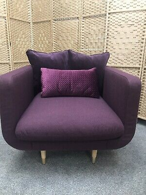 Swoon Freya Aubergine Soft Wool Armchair RRP749 - Can Deliver • 249.99£