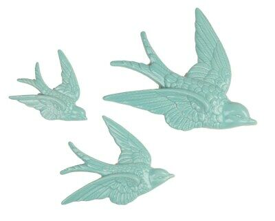 Set Of 3 Duck Egg Blue Retro Flying SWALLOWS Wall Hanging Birds Decoration • 9.99£