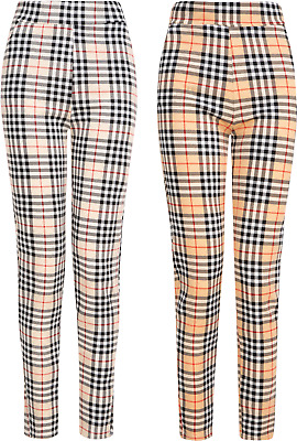 £7.95 • Buy Leggings Womens Ladies Girls Check Jeggings Trousers Stretch Comfort Fit Size