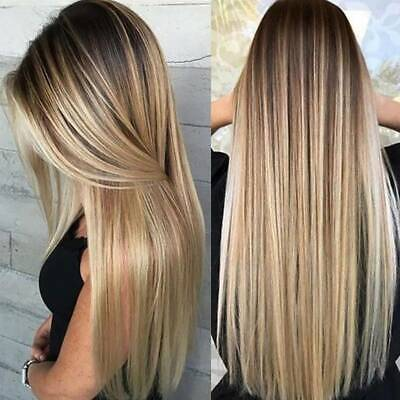 £13.77 • Buy Womens Lady Real Natural Long Straight Hair Wigs Ombre Blonde Cosplay Full Wig