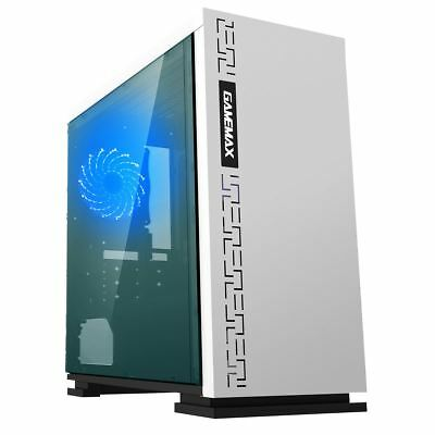 Game Max Expedition White MATX Gaming PC Case ATX Micro Blue LED Fan Side Window • 37.50£