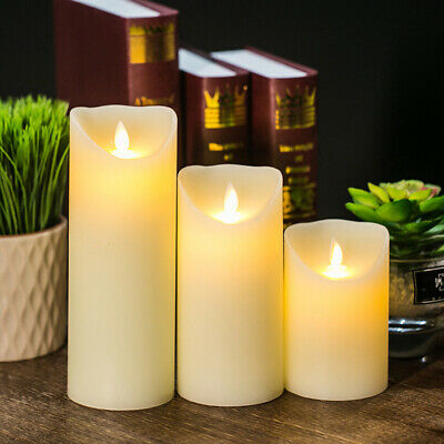3X Outdoor Battery Power Flickering Flameless LED Pillar Candle Lights Garden GN • 2.99£