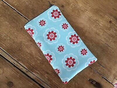 Handmade Funky Flower Floral Blue Fabric Glasses Case Padded Zip Closure • 5£