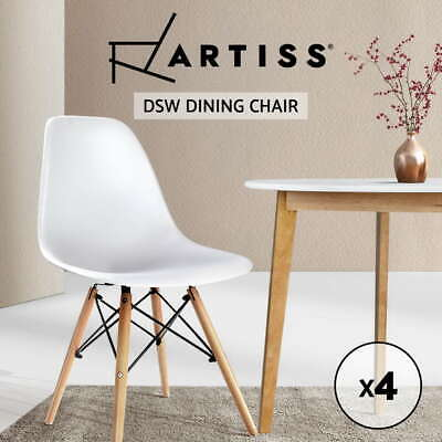 AU128.90 • Buy Artiss Set Of 4 Retro Beech Wood Chair Wooden Kitchen Cafe Dining Chairs White