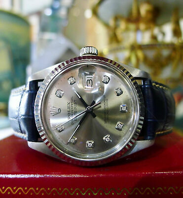 $ CDN5555.91 • Buy Mens Vintage ROLEX Oyster Perpetual Datejust 36mm Silver Diamond Dial Watch