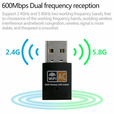 600 Mbps 2.4-5ghz USB Dual Band Wireless Adapter WiFi Dongle 802.11 AC Laptop PC • 5.25£