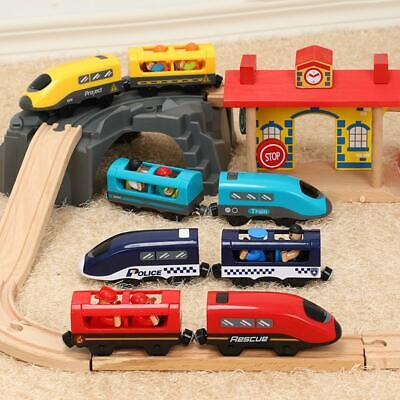 Kid Battery Train Wooden Toy Operated Gift W/ Set Broadcast Voice Track Electric • 9.79£