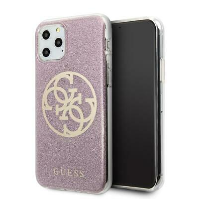 GUESS Phone Case For IPhone 11 Pro Hard Case PC/TPU 4G Glitter Circle Logo Pink • 24.84£