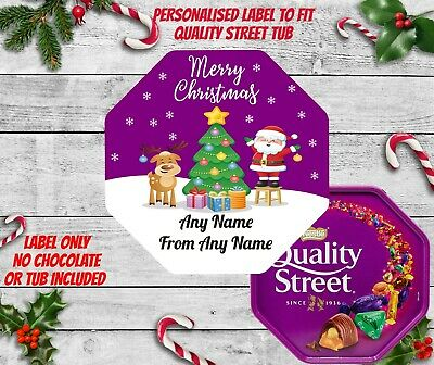 Personalised Chocolate LABELS ONLY Fits Quality Street Tub Christmas Santa CUT • 3.25£