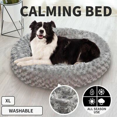 AU40.99 • Buy Pet Bed Dog Cat Nest Calming Donut Mat Soft Plush Kennel Cave Deep Sleeping