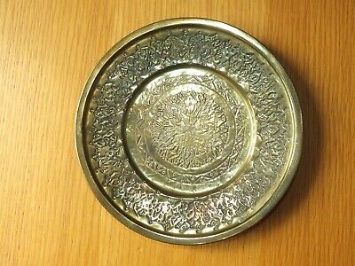 Vintage Brass Round Tray Indian Brass Plate  Etched 6'' Tray • 7.99£