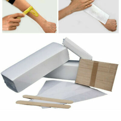 £5.99 • Buy 100 Paper Waxing Strips And 100 Wooden Spatulas For Depilation Wax Professional