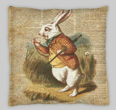 Vintage Alice In Wonderland White Rabbit Time Linen Cushion Cover 18x18 Inch • 7.50£