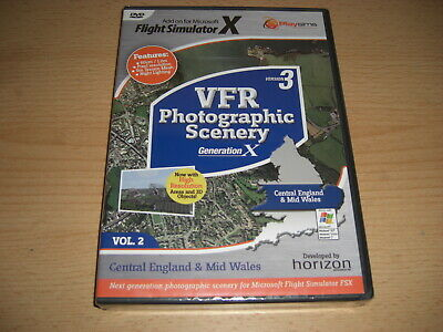 VFR SCENERY Generation X Vol 2 Central England Mid Wales Version 3 Pc FSX - NEW • 27.99£