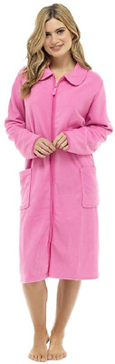 Ladies/Womens Polar Fleece Zip Front Dressing Gown Bathrobe Housecoat Robe Pink • 24.35£