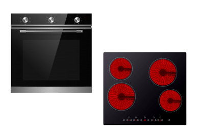 Cookology TOF600SS 72L Built-In Stainless Steel Oven & 60cm Ceramic Hob Pack • 329.99£