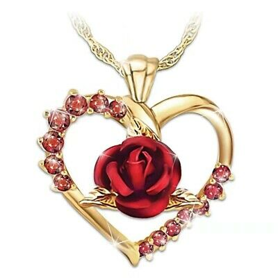 Gold Plated Crystal Heart Red Rose Statement Necklace Jewellery + Free Gift Bag • 3.95£
