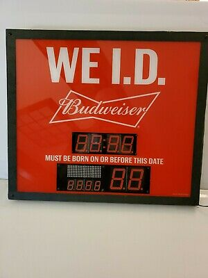 $ CDN307.27 • Buy Budweiser WE I.D. Light Up Sign. Digital Bud Sign. Neon Bar Sign. TESTED  WORKS