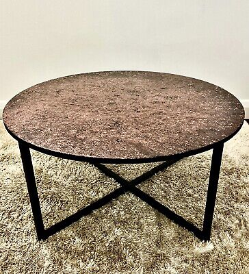 Round Coffe Table Epoxy Resin Handmade Top Metal Leg Side End Modern Furniture • 185£
