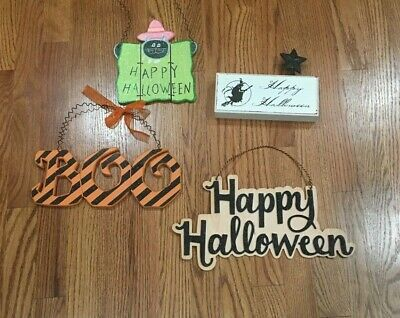 $ CDN25 • Buy Happy Halloween Hanging Sign Decor Lot Glitter Decorations Wood Cat BOO Witch