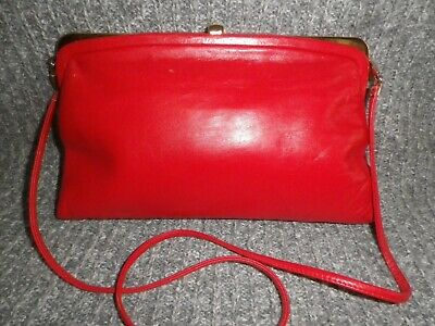 Jane Shilton Red Leather Clutch Or Shoulder Bag Red.  • 3.49£