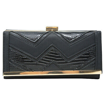 Women Structured Zig Zag Boxed Long Wallet Gift Ladies Card Coin Money Purse 156 • 9.99£