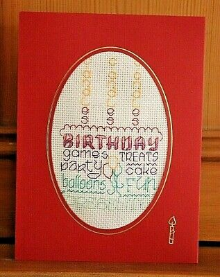 Handmade Completed Cross Stitch Birthday Card 8 X6  Words Cake Candles Finished • 4.75£