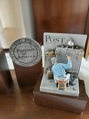 $ CDN35.79 • Buy Norman Rockwell Triple Self Portrait With Wooden Stand