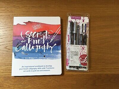 Secrets Of Brush Calligraphy Book By Kirsten Burke And Tombow Beginners Pen Set • 7.10£
