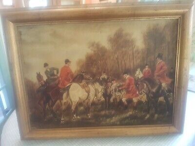 Oil On Canvas  Painting Hunting Scene 64cmx48cm Very Old.  • 100£