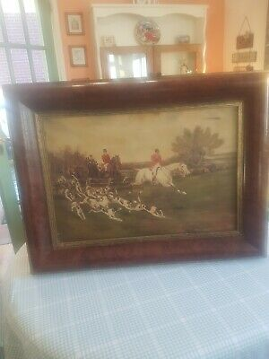 Oil Painting On Canvas 73cmx56cm Hunting Scene Fox Hunting Very Old  • 100£