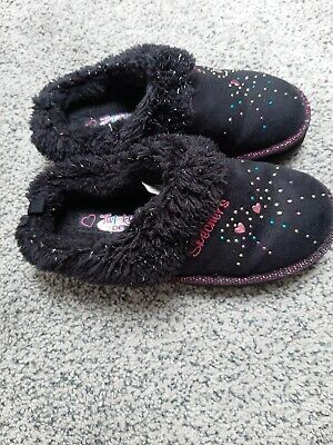 Girls Slippers Size 12 UK Skechers Black Pink Sparkles  • 4.50£