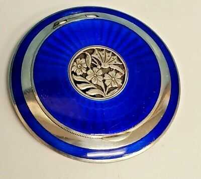 Antique Sterling Silver 2 Sided Blue Guilloche Enamel Compact Powder Box Mirror • 136.77£
