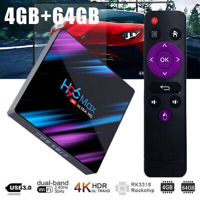 AU61.49 • Buy H96 MAX Android 9.0 4+64GB 4K Smart TV Box RK3318 USB 3.0 64Bit UHD Media Player
