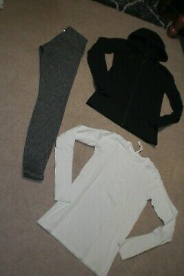 $ CDN81 • Buy Lot Of Lululemon Wunder Under Tights, In Stride Jacket And Rare Top Sz 6