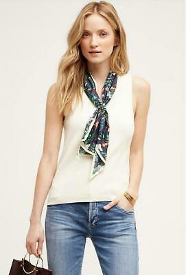 $ CDN42.12 • Buy Anthropologie Moth Size Large Scarf Tank Top Ivory Knit With Butterfly Scarf New