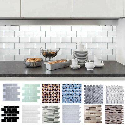3D Self Adhesive Kitchen Wall Cover Bathroom Mosaic Tile Stickers DIY Home Decor • 9.95£
