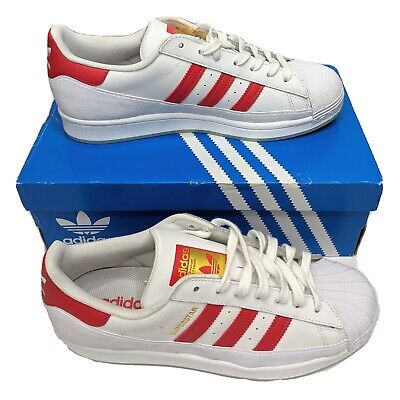 AU84.95 • Buy Adidas Originals Superstar MG Mens US 8 UK 7.5 White Red Shoes Sneakers FV3031