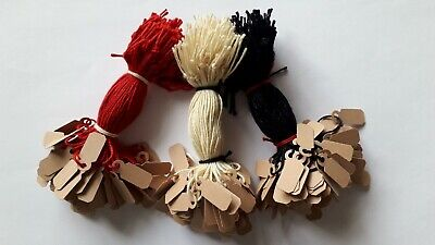 £2.99 • Buy 100 Buff Strung Jewellery Labels 19mm X 8mm Small Price Tags Swing Tickets