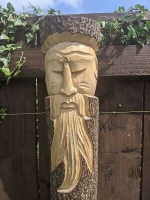 Large Hand Carved Green Man Tree Wall Plaque Garden Ornament 50cm Statue Figure  • 25.99£