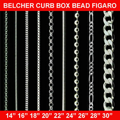 100% Genuine 925 Sterling Silver Chain Necklace 14 - 30'' Curb Men Women Solid • 9.15£