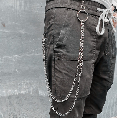 Men Double Link Metal Pants Wallet Chains Biker Trucker Punk Jean Key Chain New • 9.86£