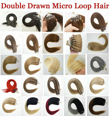£23.85 • Buy Micro Ring Silicone Bead Loop Tip Hair Extensions 100% Real Remy Human Hair 8A1g