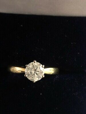 Certified 1.08ct (H/I1) Diamond Solitaire Ring Set In 18ct Yellow Gold • 1,895£
