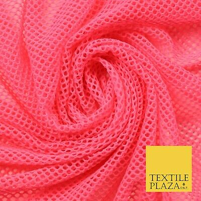 $11.03 • Buy Bright Pink Fish Net Airtex 4mm Hole Mesh Stretch Polyester Jersey Material 4342